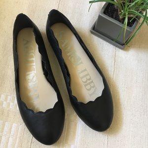 Sam & Libby black scallop ballet flats sz 7.5